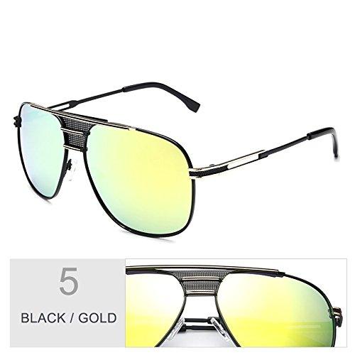 Sunglasses de hombre negro Vintage de atrás UV400 Gold por TL piloto sol aviador Gafas sol gafas el Black azul RwPZF8dq
