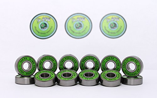 16 x GREEN SLIME - ABEC 11 608 RS Water Resistant Rubber Seal Skateboard /...