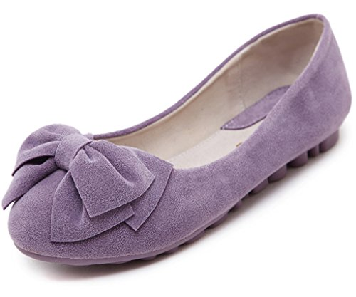 Maybest Women's Sweet Style Shoes Round Toe Peas Shoes Solid Color Soft Sole Slippers Slip On Boat Shoes Ballet Flats Purple 8 B (M) (Decorative Deck Fringe)
