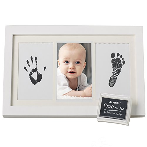 BEAUTIFUL BABY HANDPRINT & FOOTPRINT FRAME KEEPSAKE KIT for Boys, Girls, & Infants, Babyprints Paper & Ink Pad, 4 x 6 Photo Window, Premium Wood Frame, Decor for Room Wall, Amazing Baby Shower Gifts! (Photo Frame Baby Boy)