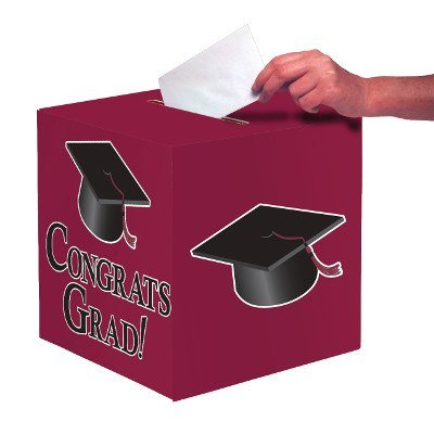 Club Pack of 6 Burgundy ''Congrats Grad'' Decorative Graduation Party Card Boxes 9'' by Party Central
