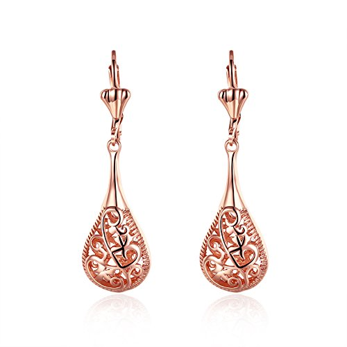 Xiaodou Rose Gold Filigree Teardrop Leverback Earrings for Girls Women