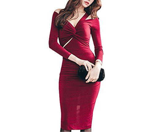 Benzhi Elegant Womens Vintage Dresses V-neck Off the Shoulder Work Office Party Business Casual Pencil Sheath Bodycon Dress red XL
