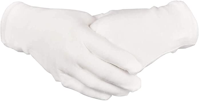 16 Pairs White Cotton Gloves 8 Medium Size for Coin Jewelry Silver Inspection by Paxcoo
