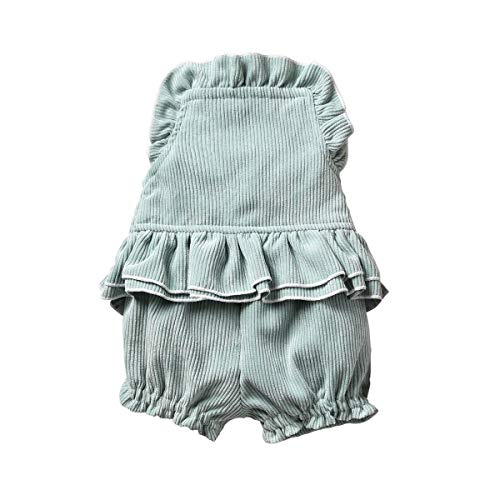 Newborn Infant Baby Girl Corduroy Ruffle Collar Romper Bodysuit Blackness Tops Pant Outfits (6-12 Months, Aqua)