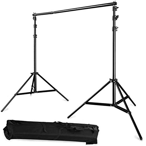 10ft Aluminum Frame (10Ft x 9Ft 3m x 2.8m Photography Background Backdrop Stand Support System Kit Video Studio Telescopic Aluminum Alloy Adjustable Portable Set Tripod with Carry Bag and Crossbar)