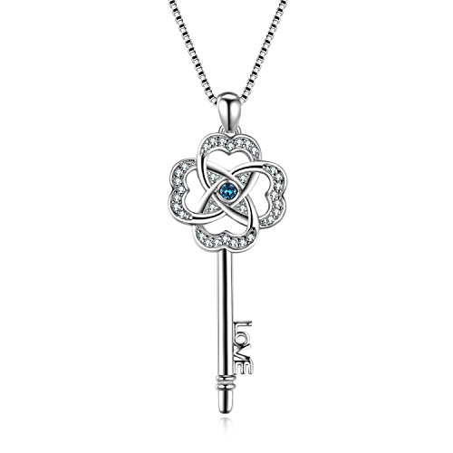 Silver Clover Key Pendant - AOBOCO Sterling Silver Key Pendant Necklace Lucky Clover Key-to-Love Jewelry with Swarovski Crystals for Her Women
