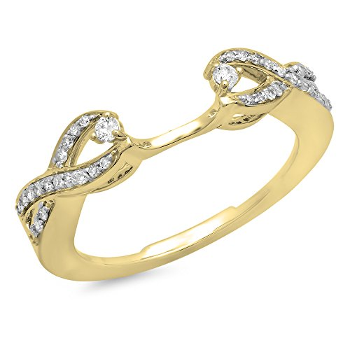 (Dazzlingrock Collection 0.25 Carat (ctw) 10K Round Diamond Split Shank Wedding Enhancer Guard Band, Yellow Gold, Size 7)