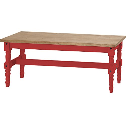 Manhattan Comfort Jay Collection Traditional Wooden Dining Table Bench with Trim Finish, Red/Wood by Manhattan Comfort
