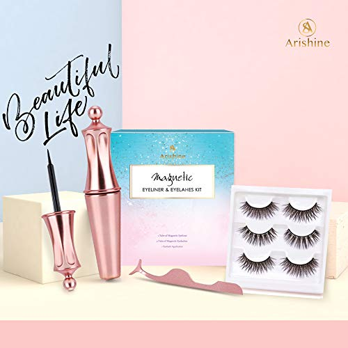 Arishine Magnetic Eyeliner and Magnetic Eyelash Kit - Magnetic ...