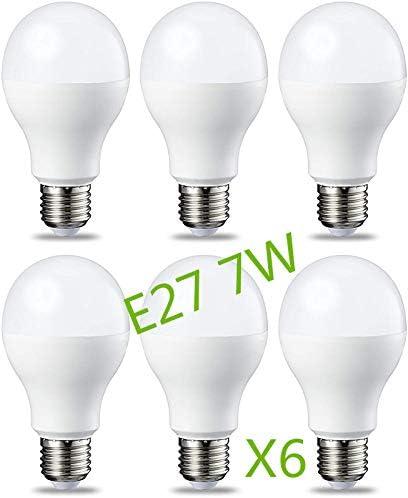 Bombilla LED 7W (Equivalente a 63W) E27 Casquillo Gordo (Pack 6) G45 Ángulo220º Lúmenes 630lm 6000k-6500k (Blanco Frío): Amazon.es: Iluminación