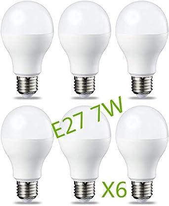Bombilla LED 7W (Equivalente a 63W) E27 Casquillo Gordo (Pack 6 ...