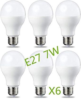 Bombilla LED 7W (Equivalente a 63W) E27 Casquillo Gordo (Pack 6) G45