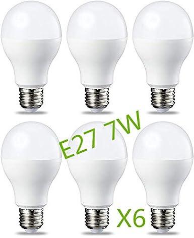 Bombilla LED 7W (Equivalente a 63W) E27 Casquillo Gordo (Pack 6) Ángulo220º