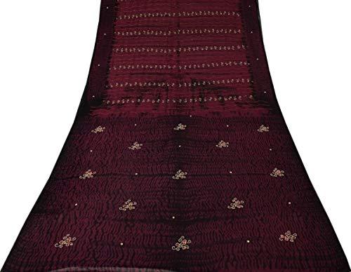 Silk Beaded Georgette - Vintage Saree 100% Pure Georgette Silk Beaded Sequins Embroidered Sari Fabric