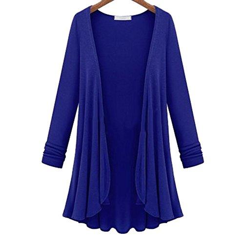 favolook Mujer de manga larga con elástico de cascada Cardigan mujer Top Azul