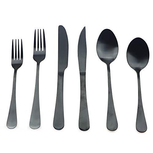 (Uniturcky Stainless Steel Matte Black Flatware Set, Steak Knife Dinnerware Knife Fork Salad Fork Dessert Spoon 24-piece, Service for 4)