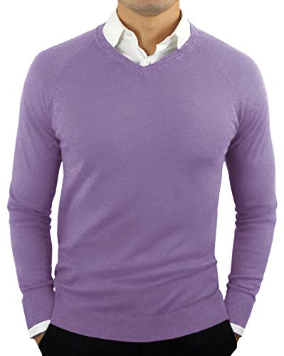 CC Perfect Slim Fit V Neck Sweaters for Men | Lightweight Breathable Mens Sweater | Soft Fitted V-Neck Pullover for Men, Small, Purple ()