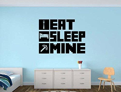 EAT SLEEP MINE Gamer Room Vinyl Wall Decal Sticker