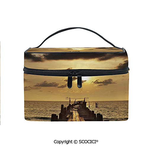 Lightweight Cosmetic Travel Bag Beauty Toiletry Bag Old Wooden Deck Pond over the Sea Horizon Sunset Time of the Day Peaceful Scene Portable Multi-function Organizer