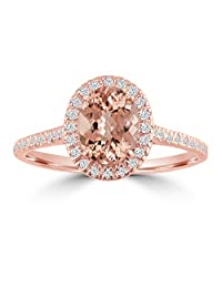 1.20ct Diamond & Oval Morganite 14k Rose Gold Halo Solitaire Engagement Ring