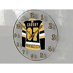 Hockey Legends Wall Clocks - 12 X 12 X 2 N H L Jersey Themed Legend Clock (S.Crosby 87 Pit Edition)