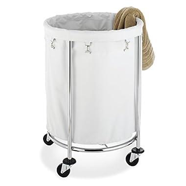 Whitmor Commercial Round Laundry Hamper, White