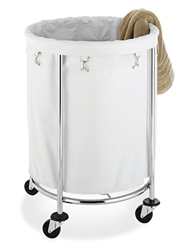 Round and white, laundry hamper with wheels.