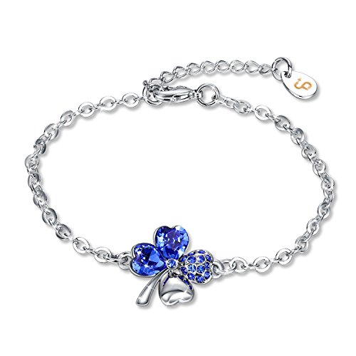 - Fairy Season Christmas Jewelry Gifts Packing Womens Good Luck Bracelet Four-Leaf Clover Crystals from Swarovski