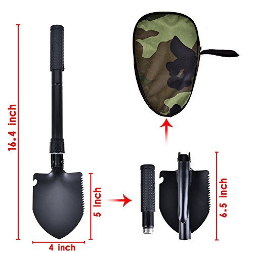Foho Folding Camping Trench Shovel Tactical Military Entrenching Tool with Carrying Pouch Survival, Hiking Spade with Pick, Saw, Compass Snow, Fishing, Backpacking, Gardening