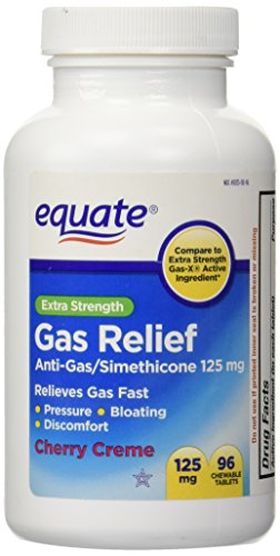 Extra Strength Gas Relief, Simethicone 125mg, 96 Chewable Tablets, Cherry Creme Flavor By Equate, Compare to Extra Strength - Cherry Chewable Medicine