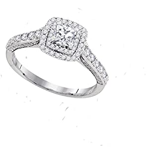 14kt White Gold Womens Princess Diamond Solitaire Bridal Wedding Engagement Ring 1.00 Cttw Size 6 (Certified)