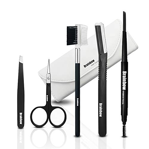 5pcs Eyebrow Trim Kit,Brainbow Eyebrow Razor Trimmer Tweezer Scissor Hair Removal Makeup Brush Comb Grooming Set for Unisex(Grey Eyebrow Pencil) from Brainbow