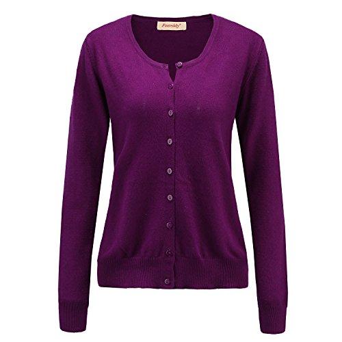 Panreddy Women's Wool Cashmere Classic Cardigan Sweater M Purple