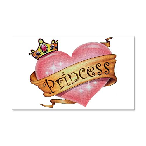 20 x 12 Wall Vinyl Sticker Princess Crowned Pink Heart