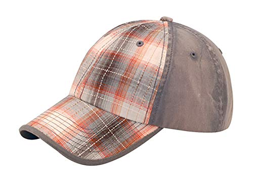 - Low Profile Washed Plaid Cotton Cap - Grey W31S58A