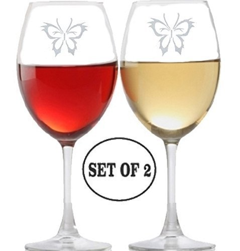 Cheap Butterfly Long Stem Wine Glasses for Red, Rose and White Wine Drinkers | Etched Engraved | Perfect Fun Handmade Present for Everyone | Lead Free | Dishwasher Safe | Set of 2