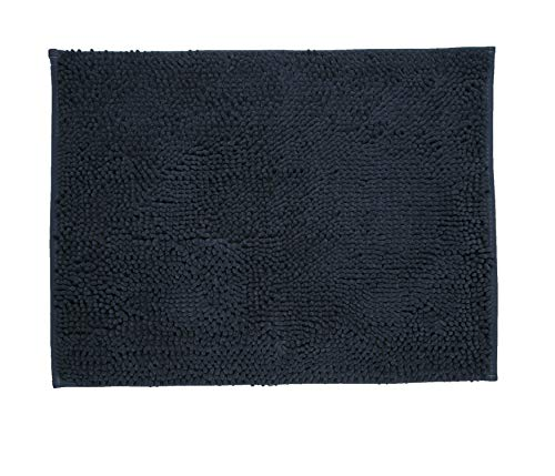 Tapete Banho Chenille, Etna, Poliéster e Borracha TPR, Azul, 50 x 70 cm