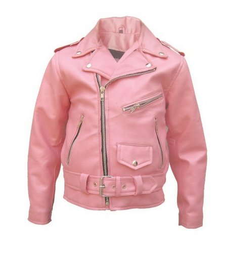Allstate Leather Little Girls Leather Basic Motorcycle Jacket AL2803 - Small, Pink by Allstate Leather