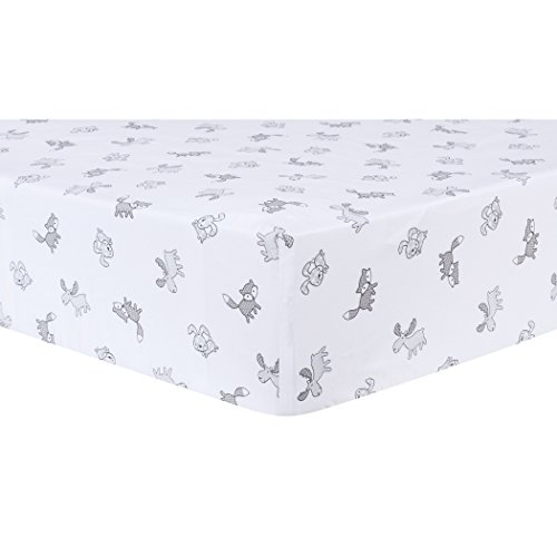 Trend Lab Aztec Forest Fitted Crib Sheet, Gray/White