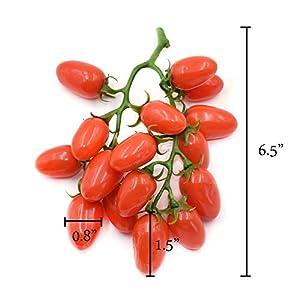 Hagao Artificial Fruit Cherry Tomatoes Fake Plastic Lifelike Simulation House Kitchen Decoration (15 Grain) 2