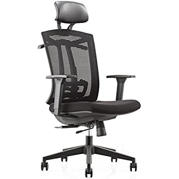 CMO Ergonomic Mesh High Back Ultra Computer Office Chair With 2 To 1 Synchro Tilt Control Seat Glide Big Tall Executive PU Headrest