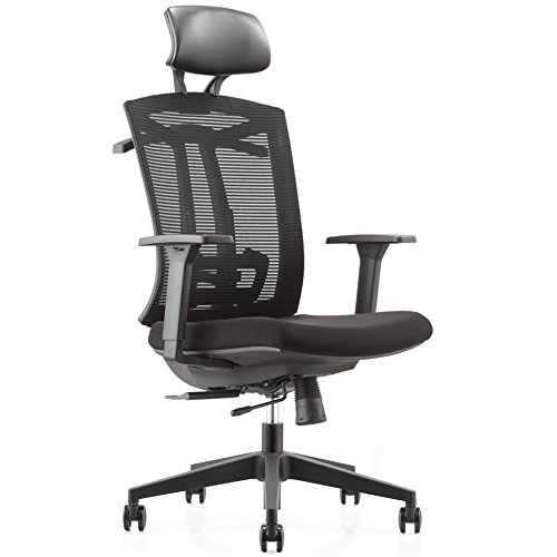 CMO Ergonomic Mesh High-Back Ultra Computer Office Chair with 2-to-1 Synchro-Tilt Control, Seat Glide, Big & Tall Executive Chair with PU Headrest, Adjustable Arms and Suit (Big Tall Office Chairs)