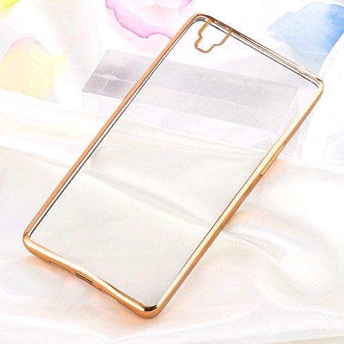 Moonmini® OPPO R7s Hülle, Ultradünnen Luxus Chrom Metallrahmen TPU Schutzhülle Silikon Bumper Slim Bling Case für OPPO R7s - Golden