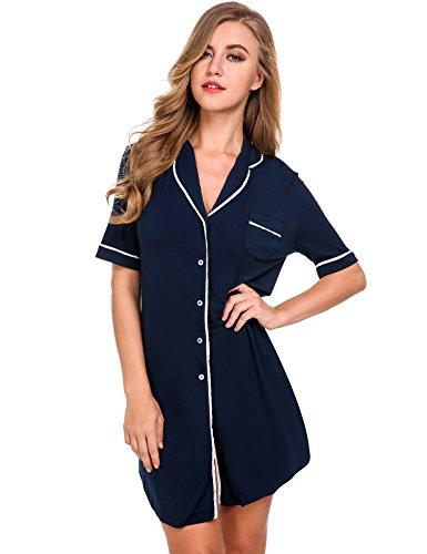 Avidlove Womens Short Sleeve Pajamas Top Luxury Boyfriend Sleepshirt Dress Sleepwear, Navy Blue Nightgown, Small (Sleepwear Dress)