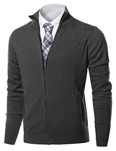 Striped Mock Layer Top (Youstar Classic Full Zip Up Mock Neck Basic Sweater Cardigan Top Dark Grey Size L)