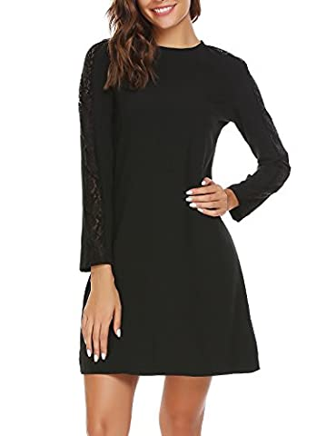 SE MIU Women's Lace Long Sleeve Cocktail Evening Party Dress - Holiday Stretch Lace Dress