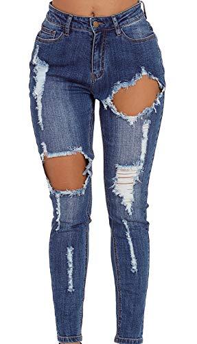Shawhuwa Womens w Heavy Distressing High Waist Jeans Knee Slit Ripped Hole Stretchy Flared Fringe Petite Denim Pants