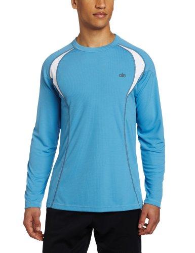 Alo Yoga Men's Response Long Sleeve Tee, Smoke Blue/White, XX-Large