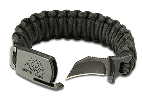 Outdoor Edge PCK-90C Para-Claw Paracord Knife Survival Bracelet -- Black, SIZE LARGE